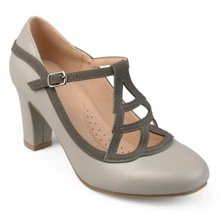Journee Collection Women's 'Nile' Round-toe Vintage Comfort-sole Two-tone Lattice Mary Jane Pumps|https://ak1.ostkcdn.com/images/products/17611269/P23827991.jpg?impolicy=medium