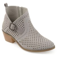 Journee Collection Women's 'Jules' Asymmetrical Perforated Stacked Heel Booties