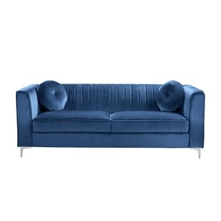 Velvet Two-seat Sofa With Accent Pillows