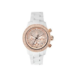 ToyWatch Velvety Chrono White and Pink Gold with Stones VVCMS06WH|https://ak1.ostkcdn.com/images/products/17611407/P23828100.jpg?impolicy=medium
