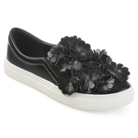 Journee Collection Women's 'Mizey' Cascading 3D Flowers Faux Leather Slip-on Sneakers
