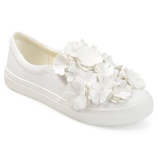 Journee Collection Women's 'Mizey' Cascading 3D Flowers Faux Leather Slip-on Sneakers