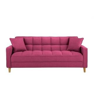 Modern Linen Fabric Tufted 3-Seater Living Room Sofa