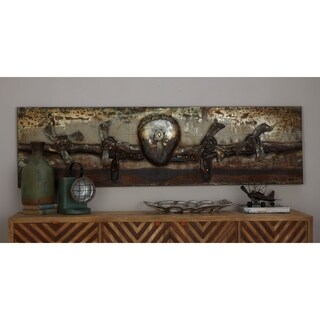 Industrial 20 x 71 Inch Metal Vintage Propeller Wall Art by Studio 350 - multi