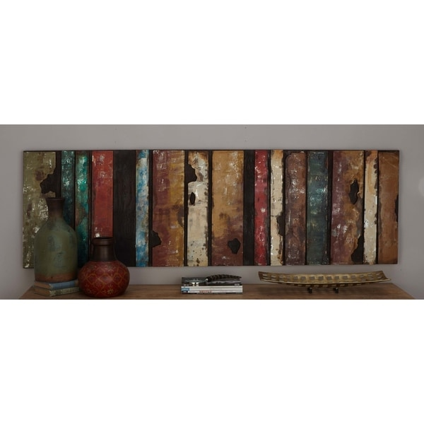 Rustic 22 x 71 Inch Metal Multicolored Slat Wall Decor by Studio 350 - multi