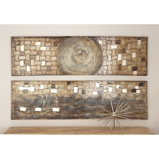 Set of 2 Modern 70 Inch Spiral and Wave Canvas Painting by Studio 350 - Grey/Brown/White