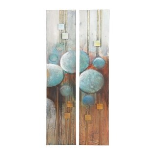 Set of 2 Modern 65 x 14 Inch Abstract Canvas Art by Studio 350 - multi