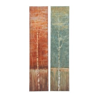 Set of 2 Contemporary 65 x 14 Inch Birch Tree Canvas Art by Studio 350 - Green/Red