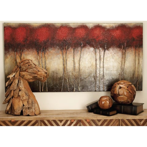 Natural 30 x 60 Inch Pine Wood Treescape Canvas Art by Studio 350 - Grey/Brown/Red