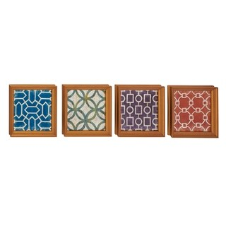 Studio 350 Wood Wall Decor Set of 4, 16 inches wide, 16 inches high