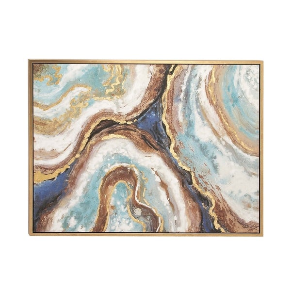 Modern 36 Inch Marbling Paint Framed Canvas Wall Art By Studio 350 by Studio 350