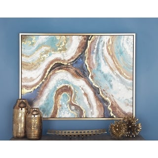 Modern 36 Inch Marbling Paint Framed Canvas Wall Art by Studio 350 - Multi-color