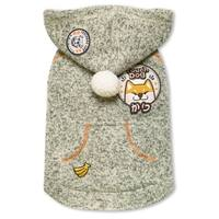 Touchdog Hippie Embellished Designer Sleeveless Pompom Pet Dog Hooded Sweater