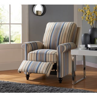 ProLounger Blue/Tan Stripe Traditional Push Back Recliner Chair