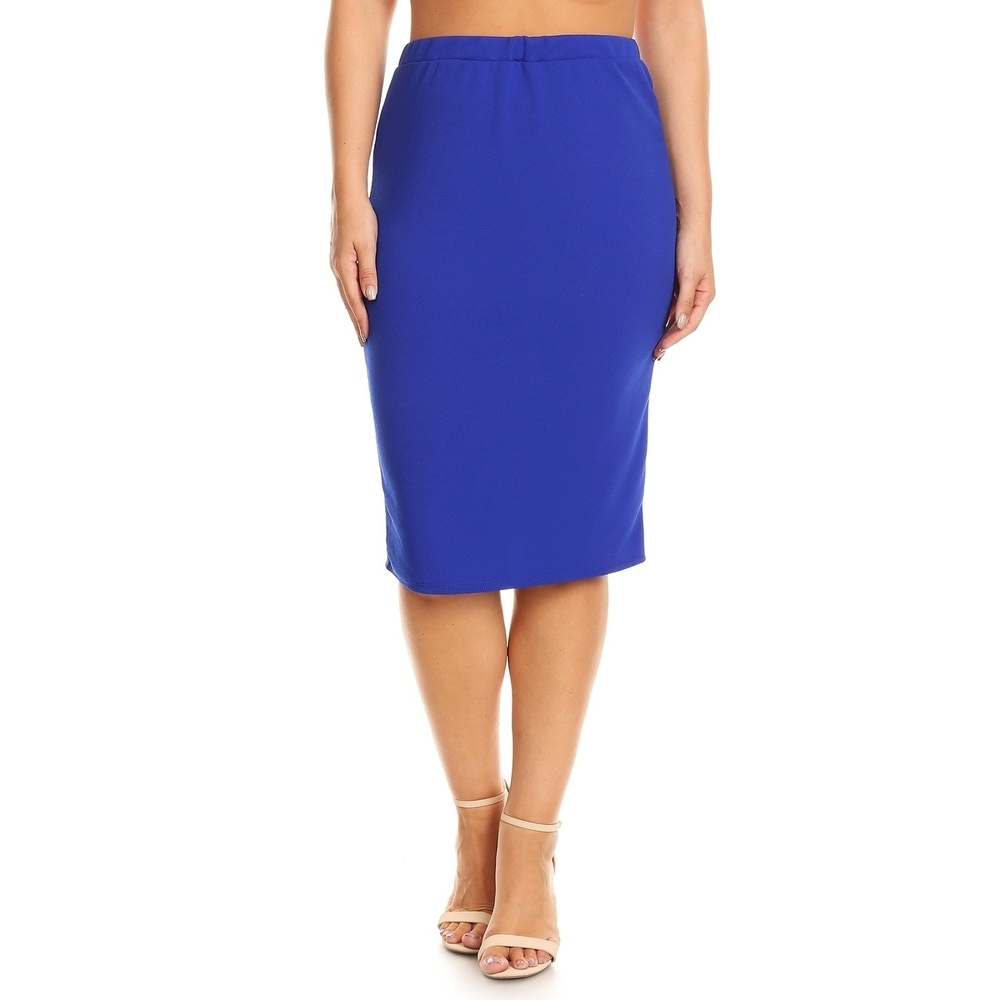Womens Plus Size Solid Pencil Silhouette Skirt