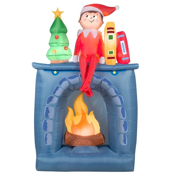 Inflatable Elf and Fireplace