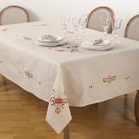 Embroidered Ornament Design Christmas Holiday Linen Blend Tablecloth