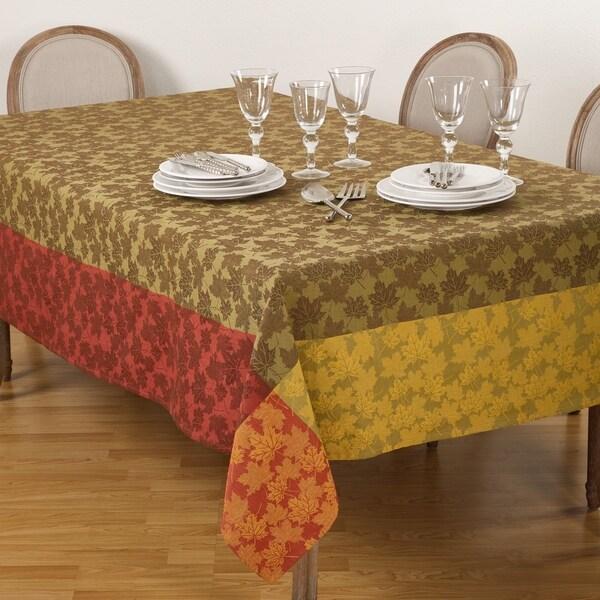 Fall Foliage Jacquard Leaf Design Cotton Tablecloth