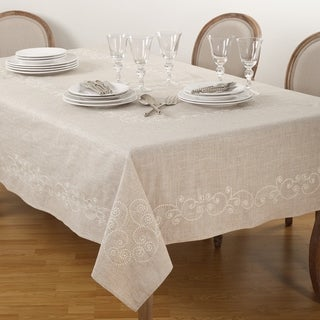 Embroidered Swirl Design Natural Linen Blend Tablecloth