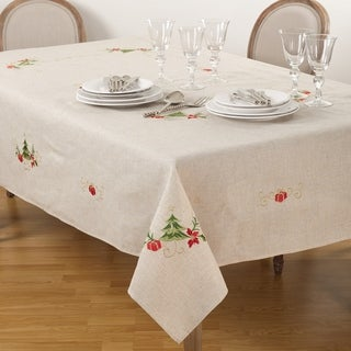 Link to Embroidered Christmas Tree Design Tablecloth Similar Items in Table Linens & Decor