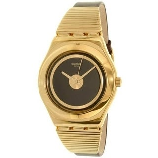 Swatch HIGH NECK Gold-Tone Leather ladies Watch YLG130