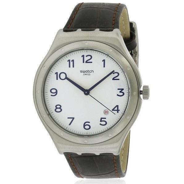 Swatch Four Thirty Leather Mens Watch YWS416, White, Size...
