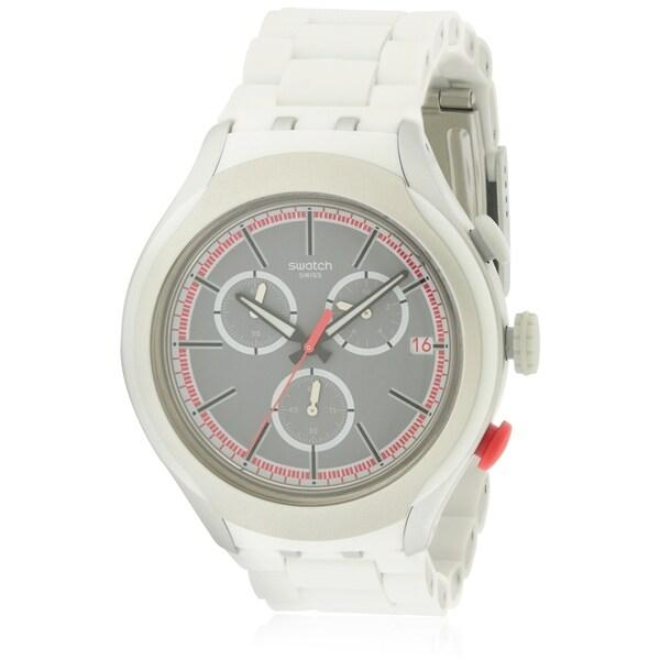 Swatch WHITE ATTACK Aluminium Chronograph Mens Watch YYS4019AG