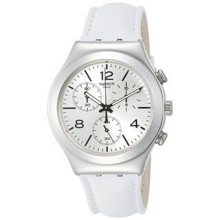 Swatch BIANCAMENTE Chronograph Leather Unisex Watch YCS111
