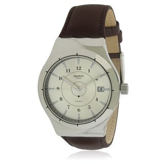 Swatch SISTEM EARTH Leather Automatic Mens Watch YIS400
