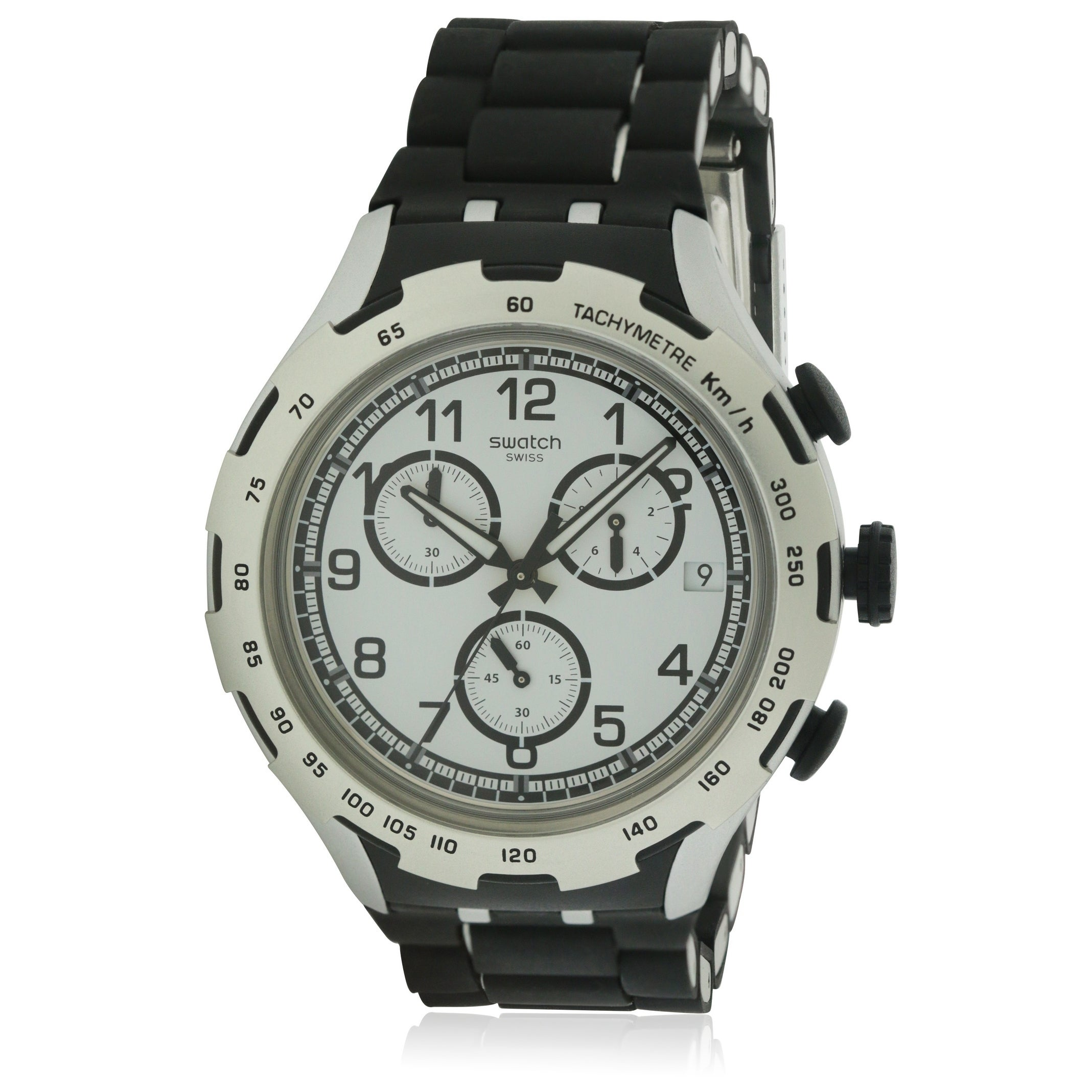 Swatch Black Attack Unisex Watch YYS4020AG, White, Size O...