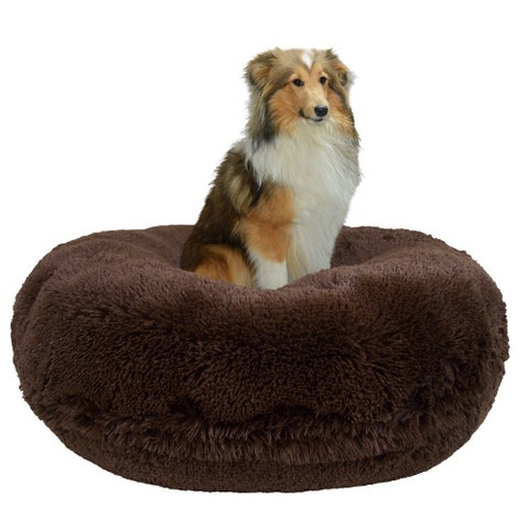 Bessie and Barnie Signature Grizzly Bear Luxury Shag Extra Plush Faux Fur Bagel Pet / Dog Bed