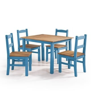 Manhattan Comfort York 5-Piece Solid Wood Dining Set with 1 Table and 4 Chairs