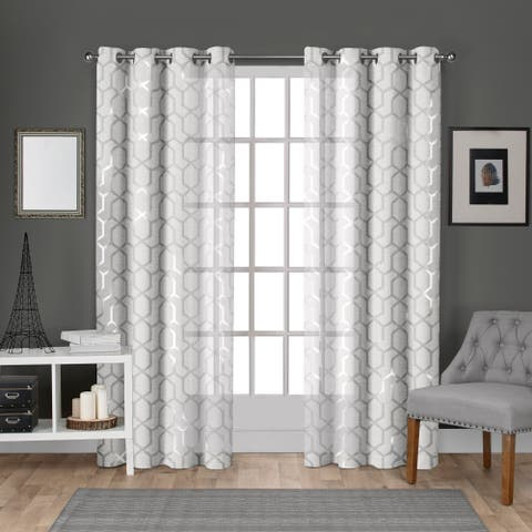ATI Home Panza Metallic Sheer Grommet Top Curtain Panel Pair