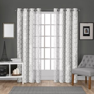 ATI Home Panza Metallic Sheer Grommet Top Curtain Panel Pair (3 options available)