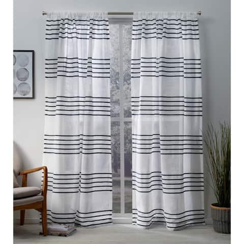 ATI Home Monet Pleated Sheer Rod Pocket Top Curtain Panel Pair
