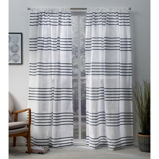 ATI Home Monet Pleated Sheer Rod Pocket Top Curtain Panel Pair