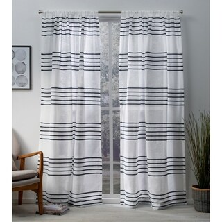 ATI Home Monet Pleated Sheer Linen Curtain Panel Pair with Rod Pocket