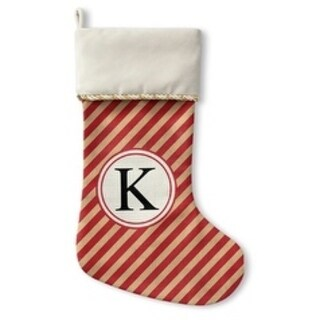 Kavka Designs Red Stripe K Holiday Stocking