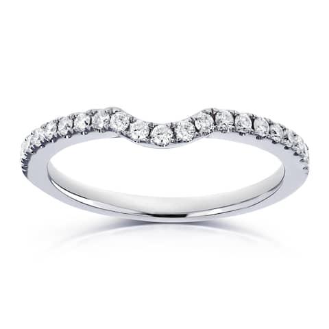 Annello by Kobelli 14k White Gold 1/5ct TDW Diamond Contour Wedding Band (H-I, I1-I2)