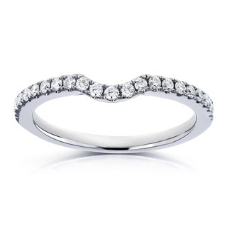 Annello by Kobelli 14k White Gold 1/5ct TDW Diamond Contour Wedding Band (H-I, I1-I2)