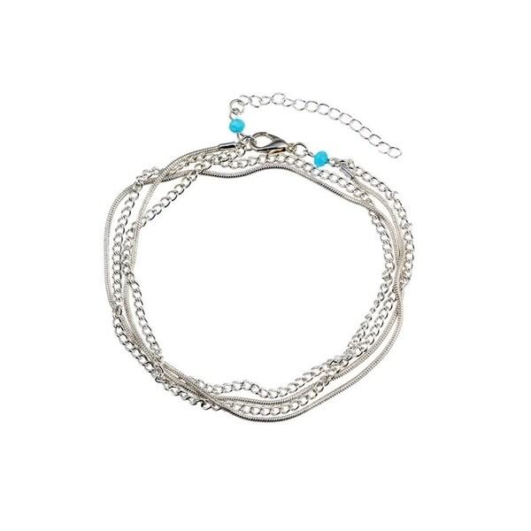 Multi Silver Chain Adjustable Ankle Bracelet