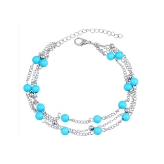 Multi Layer Turquoise Beads Chain Anklet Ankle Bracelet (Option: Rose Gold)