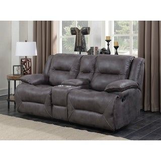 Dylan Dual Lay Flat Reclining Storage Console Loveseat with Memory Foam Seat Toppers, USB Charging Ports, and AC Power Outlets