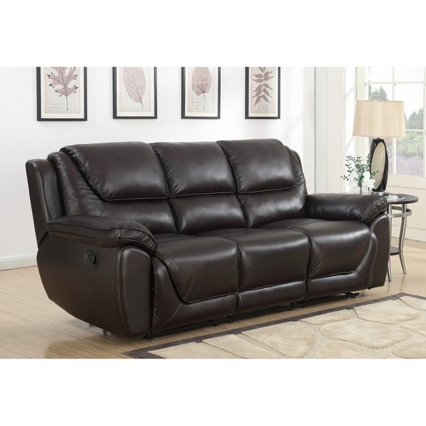 Shop Colton Dual Lay Flat Reclining Leather Touch Sofa with Memory ...