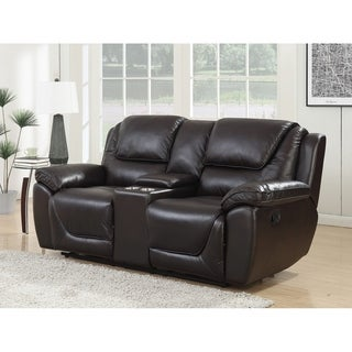 Colton Brown Leather Dual Lay-flat Reclining Storage Console Loveseat With Memory Foam Seat Toppers