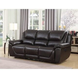 Colton Genuine Top Grain Leather Touch Dual Power Reclining Sofa with Memory Foam Seat Toppers and USB Charging Ports