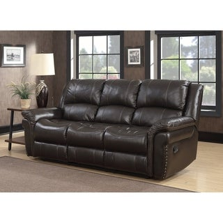 Landon Dual Lay Flat Reclining Leather Touch Sofa with Memory Foam Seat Toppers