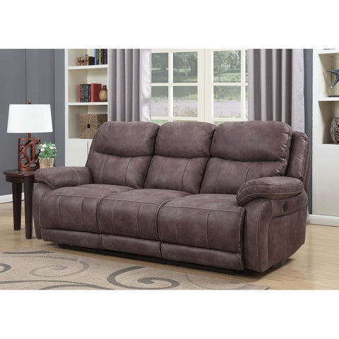 Alexander Dual Power Reclining Sofa with Memory Foam Seat Toppers, USB Charging Ports and Power Adjustable Headrests