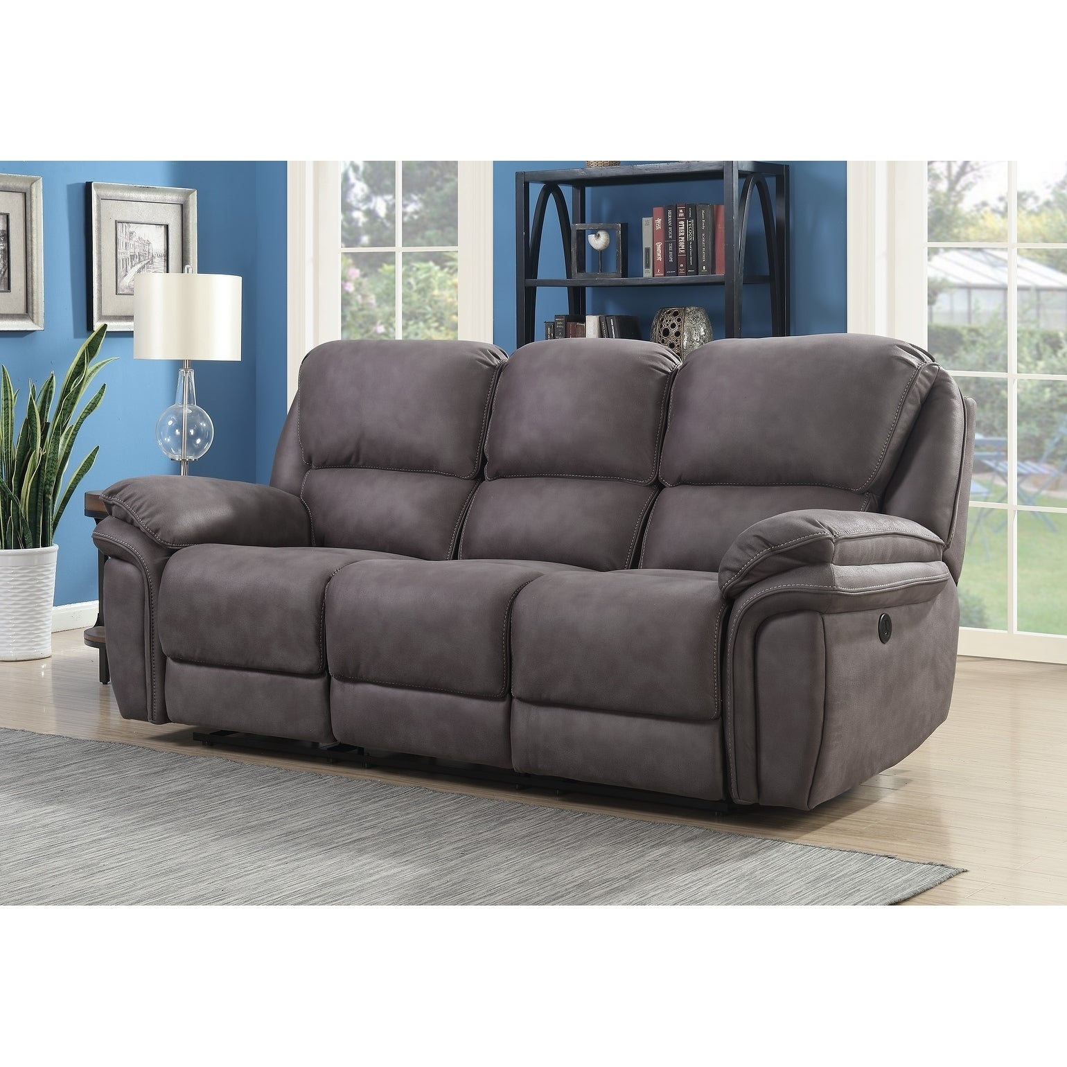 Henry Dual Power Reclining Sofa With Memory Foam Seat Toppers And