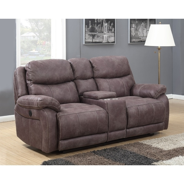 Alexander Dual Power Reclining Loveseat With Memory Foam, USB Charging, AC  Power Outlets And